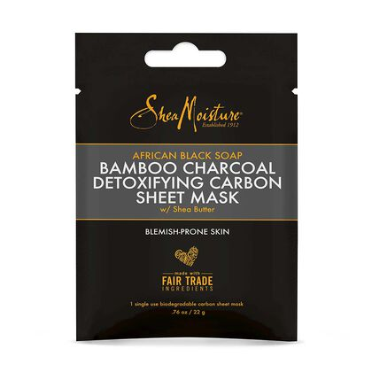 African Black Soap Bamboo Charcoal Detoxifying Sheet Mask